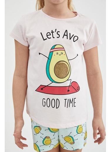 DeFacto Kız Çocuk Avokado Baskılı Kısa Kol Pijama Takımı Pembe